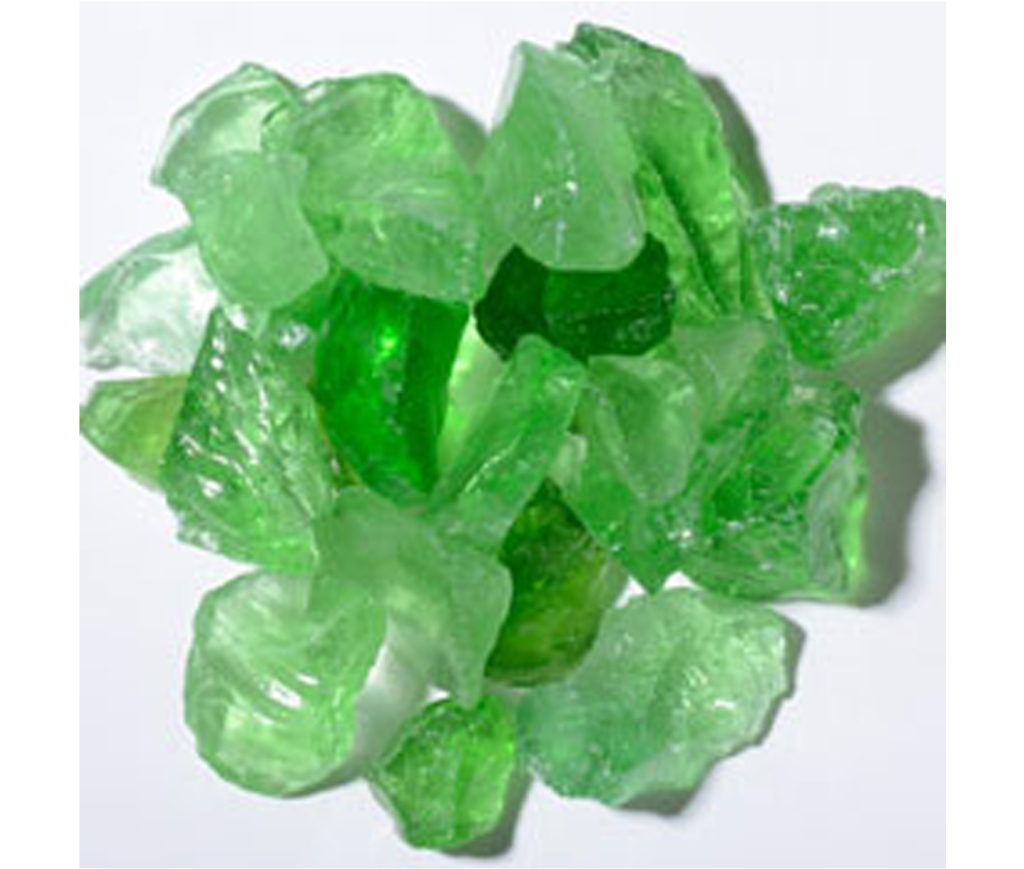 crystal green fire glass