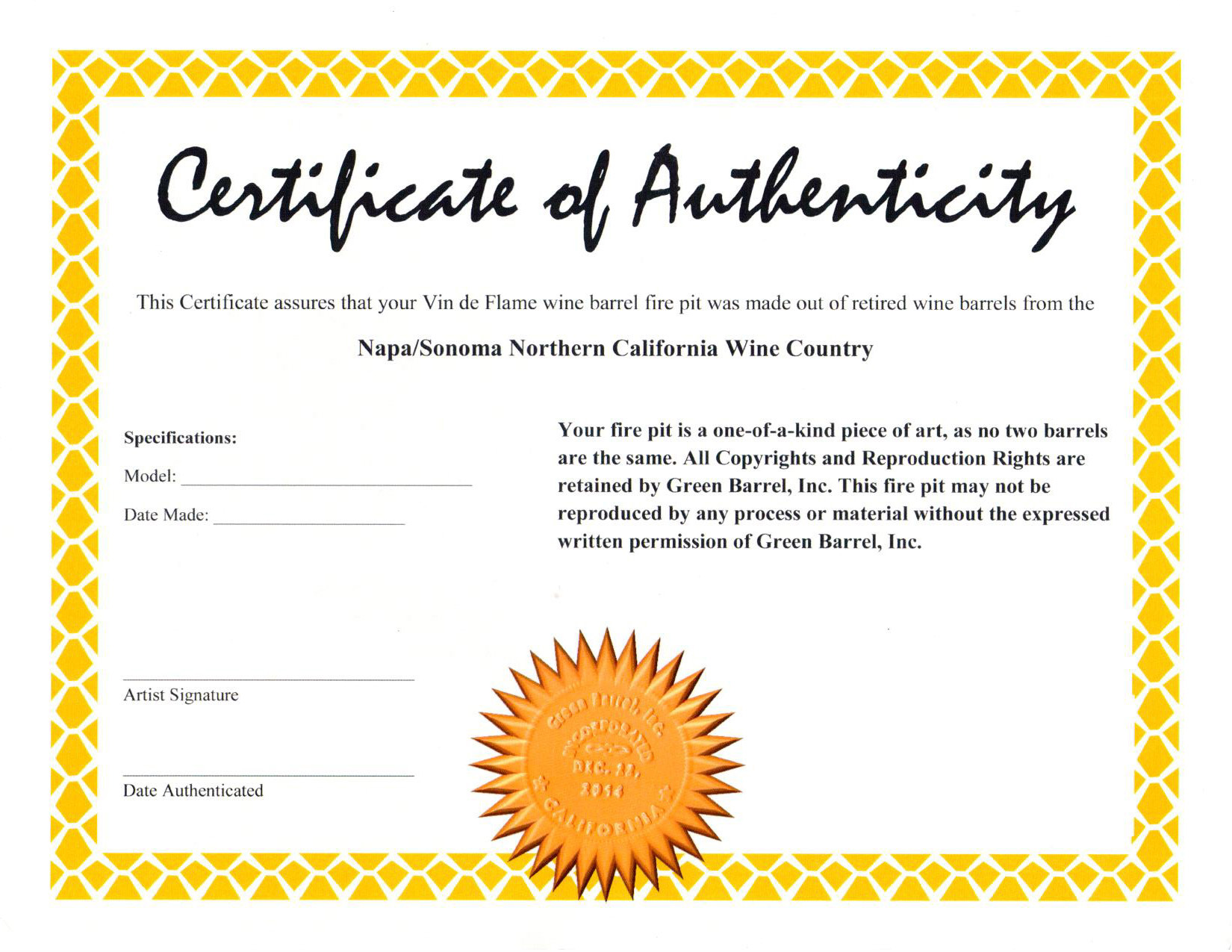 Certificate of Authenticity 2